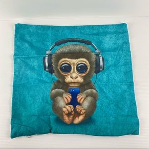 Blue Baby Monkey 45x45cm Polyester Cushion Cover